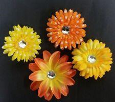NEW Lot 4 Pc Yellow Orange Flower Clips Baby Toddler Girls Halloween Set Bling