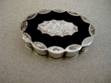 ANTIQUE STERLING SILVER VOLUPTE COMPACT WITH BLACK ENAMEL LID