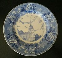 Vintage WEDGWOOD ENGLAND   BLUE OLD MEETING HOUSE PLATE YARMOUTH MAINE