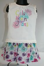 Calvin Klein Jeans Little Girls 4T Outfit Bright Floral Skort and Tank 2 piece