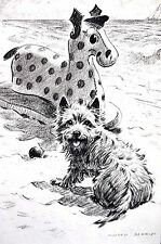 Morgan Dennis 1946 CAIRN TERRIER w SPOTTED TOY DOG AT BEACH Vintage Dog Print