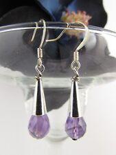 Silver Purple Amethyst Briolette Genuine Gemstone Classy Earrings