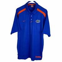 Florida Gators Nike Team Polo Shirt Medium Blue Orange Spell Short Sleeve FitDry