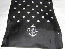 RALPH LAUREN Black Polka Dot Nautical Anchor Silk Neck Scarf NEW