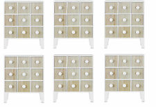 Slim Mini Free Standing Cabinet with 9 Drawers in White and Pine SIX PACK