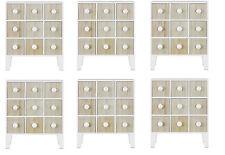 Fin Mini support libre armoire avec 9 tiroirs en blanc et pin Six paquet