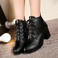 Damenschuhe Stiefel Stiefeletten Ritter Stiefel Schnürschuhe schwarz 30-48