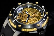 "RARE Invicta 52mm Bolt "" Fire Phoenix "" Mechanical Golden Dragon Silicone Watch"