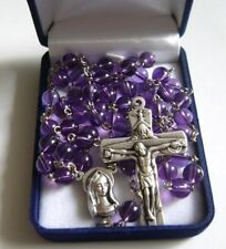 BEAUTIFUL NATURAL AMETHYST BEADS ROSE ROSARY & trinity CROSS CATHOLIC NECKLACE