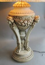 Large & Fine ANTIQUE ITALIAN Carved Marble Lamp w/ Cherubs  c. 1915    alabaster