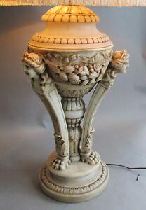 Large & Fine ANTIQUE ITALIAN Carved Marble Lamp w/ Cherubs  c. 1915    alabaster