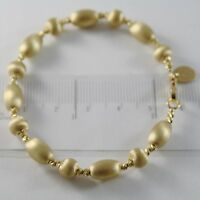 18K YELLOW GOLD BANGLE SATIN WORKED OVALS FACETED BALLS BRACELET MADE IN ITALY