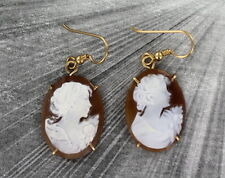 VINTAGE ANTIQUE  SHELL CAMEO EARRINGS ------ CARVED IN ITALY. 14KT ROLLED GOLD