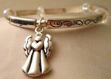 Angel Blessing Hinged Bangle Bracelet with Angel Charm