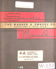 Warner Amp Swasey 4a Lathe M 3350 Amp M 3580 Service And Parts Manual 1958