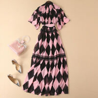Womens Long Dresses Runway Printed Floral Holiday Fit Loose Elegant Chiffion Hot