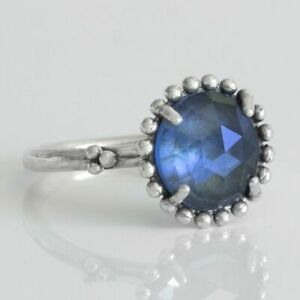 Midnight Star Ring 925 Solid Sterling Silver Large Blue Crystal Band Size 7