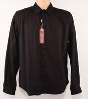 REPLAY Men's Casual Long Sleeve Cotton Shirt, Black, size MEDIUM