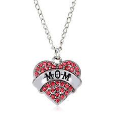 Pink Crystal Heart Necklace - Mom