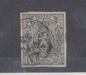 Belgium 1866 1c Grey Imperf SG39 CAT £200 Fine Used JK2206
