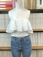 TOPSHOP Top 10 Cropped Frill Broderie Anglaise Lace Bralet Blouse