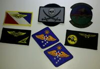 Lot of 7 Militairy Embroidered Patches Felix Cat 27th OPS Support Jolly Roger NF