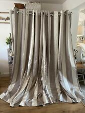 NEXT Taupe/Grey Ivory Satin Stripe Thermal Interlined Curtains 2 Pairs Avail