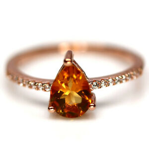 NATURAL 6 X 8 mm. GOLDEN YELLOW CITRINE & CZ RING 925 STERLING SILVER SZ 7.75