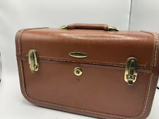 Vintage Taperlite Leather Train Case Make-Up Carry-On Luggage w/Mirror-Tray-Key