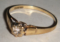 VINTAGE ANTIQUE 9K 9CT 375 SOLID YELLOW GOLD SOLITAIRE DIAMOND RING ART DECO