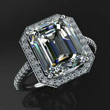 Diamond Engagement Ring .925 Silver Ring 3.10 Ct Emerald Near White Moissanite