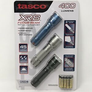 Tasco XR8 Tactical CREE LED Flashlights 400 Lumens 3 Pack 5 Mode Multi-Beam NEW!