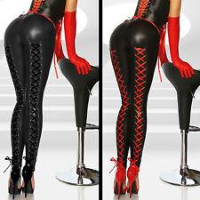 Pantaloni finta pelle Bagnato aderenti Lacci Stringhe Faux Leather Leggings B W