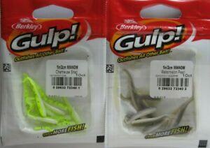 """2 - BERKLEY GULP!  2"""" Minnow (10/Ct Pack) - Chartreuse Shad & Watermelon Pearl"""
