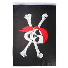 Polyester Pirate Skull Red Bandana Country Flag 2x3 Feet for Football Lovers