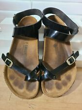 Birkenstock Yara Black Patent Ankle Strap Toe Loop Sandals  EU 41/ L10 M8