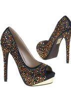 UK SIZE 4 Stiletto high heel womens sexy shoes black multi colour rhinestones