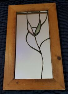 Vintage Stained Glass Wood Framed Mirror by Orpheus Mirrors