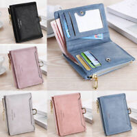 Women Zipper RFID Wallet Lady Solid Coin Pocket Purse Frosted Clutch Bag