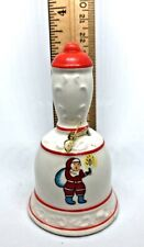 Vintage Ceramic Miniature Christmas Bell White & Red w/ Santa Claus from Japan