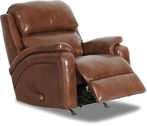 NEW Barcalounger Vantage II Maverick Saddle Leather Split Recliner Rocker Chair
