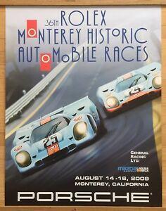 """❤️Original Porsche Vintage Racing Poster 34x26""""Rare  Rolex Monterey Sign Hatch"""