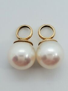 14k Yellow Gold 7.5mm Fine Pearls for Hoop Enhancer Charms or Pendants 2 of them