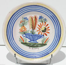 TELLER IN FAYENCE - HR QUIMPER - XIX. jahrhundert - POKAL CACTUS - 23 cm