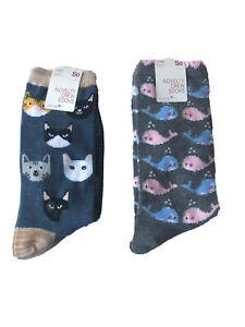 So Womens Novelty Crew Socks Size 9 -11 Cats Whales Lot #OL1