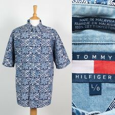 VINTAGE TOMMY HILFIGER MENS SHIRT SHORT SLEEVE BLUE FLORAL PATTERN XL