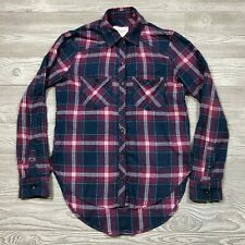 Abercrombie Fitch Plaid Extended Length Flannel Shirt Women's XS O48