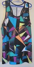 Fila Youth Girls Athletic Black Geometric Print Top Sz~L (14)~GC