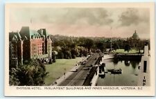 Empress Hotel Parliament Buildings Inner Harbour Victoria BC Canada Postcard B94