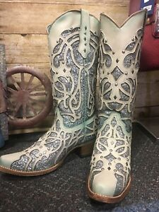 Ladies Corral C3377~White/Turquoise Chameleon Sun Effect~Cowgirl~Western